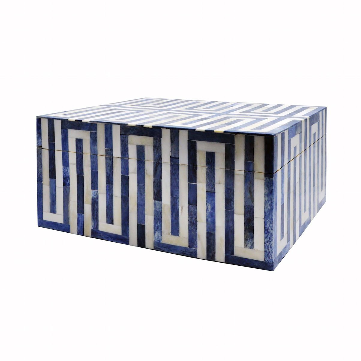 Worlds Away - Mellie Large Blue & White Decorative Box | Fig Linens and Home