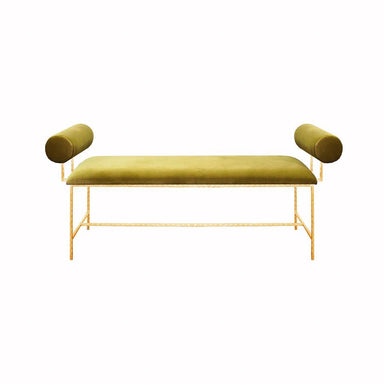 Miller Lime Green Velvet & Gold Bench by Worlds Away | Fig Linens