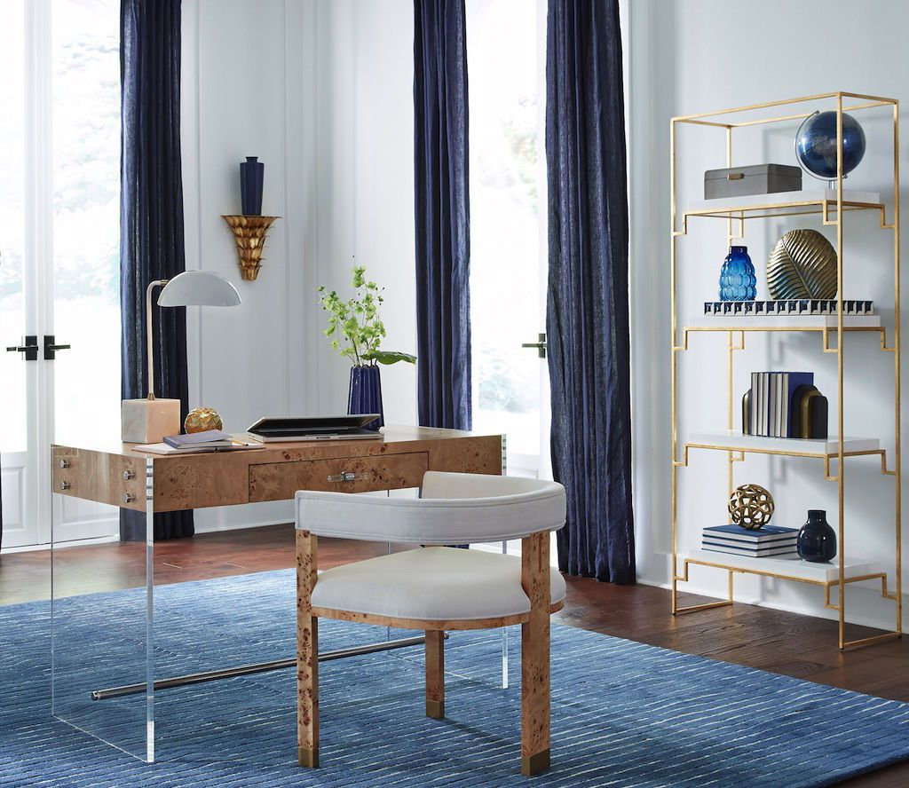 Lennon Burl Wood Desk by Worlds Away - Fig Linens and Home
