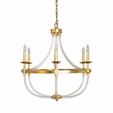 Layla Gold & Acrylic Chandelier by Worlds Away | Fig Linens