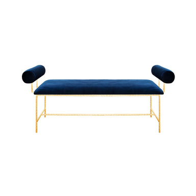Miller Navy Velvet & Gold Bench by Worlds Away | Fig Linens