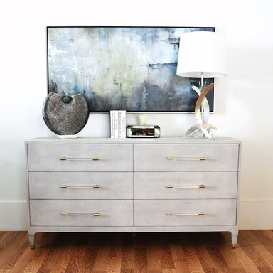 Maren Light Grey 6-Drawer Chest by Worlds Away | Fig Linens
