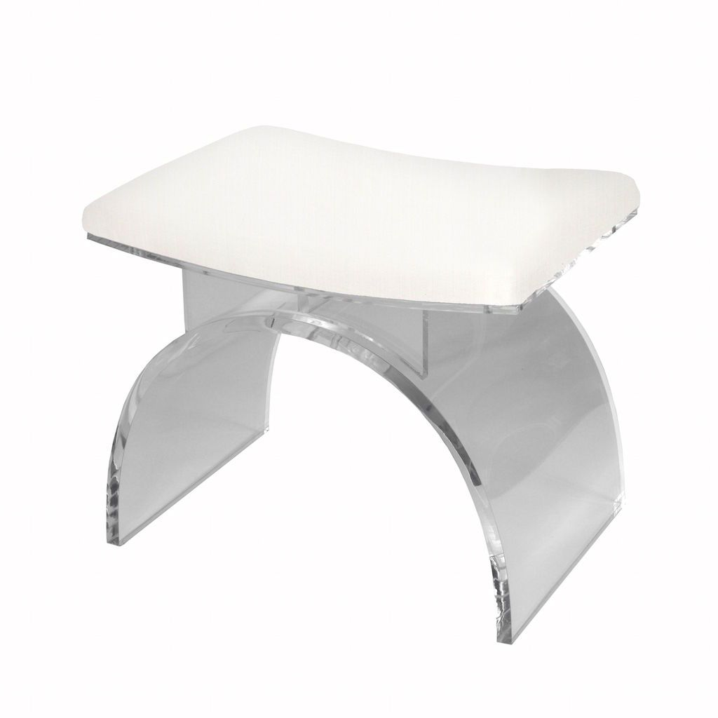 Marlowe Lucite & White Linen Stool by Worlds | Fig Linens