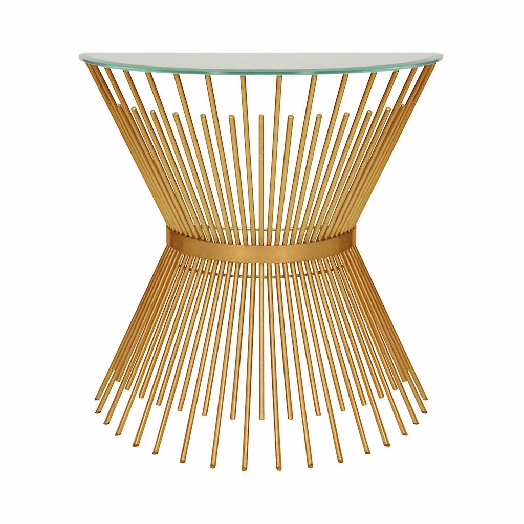 Worlds Away - Jasmine Gold Sunburst Console with Glass Top | Fig Linens