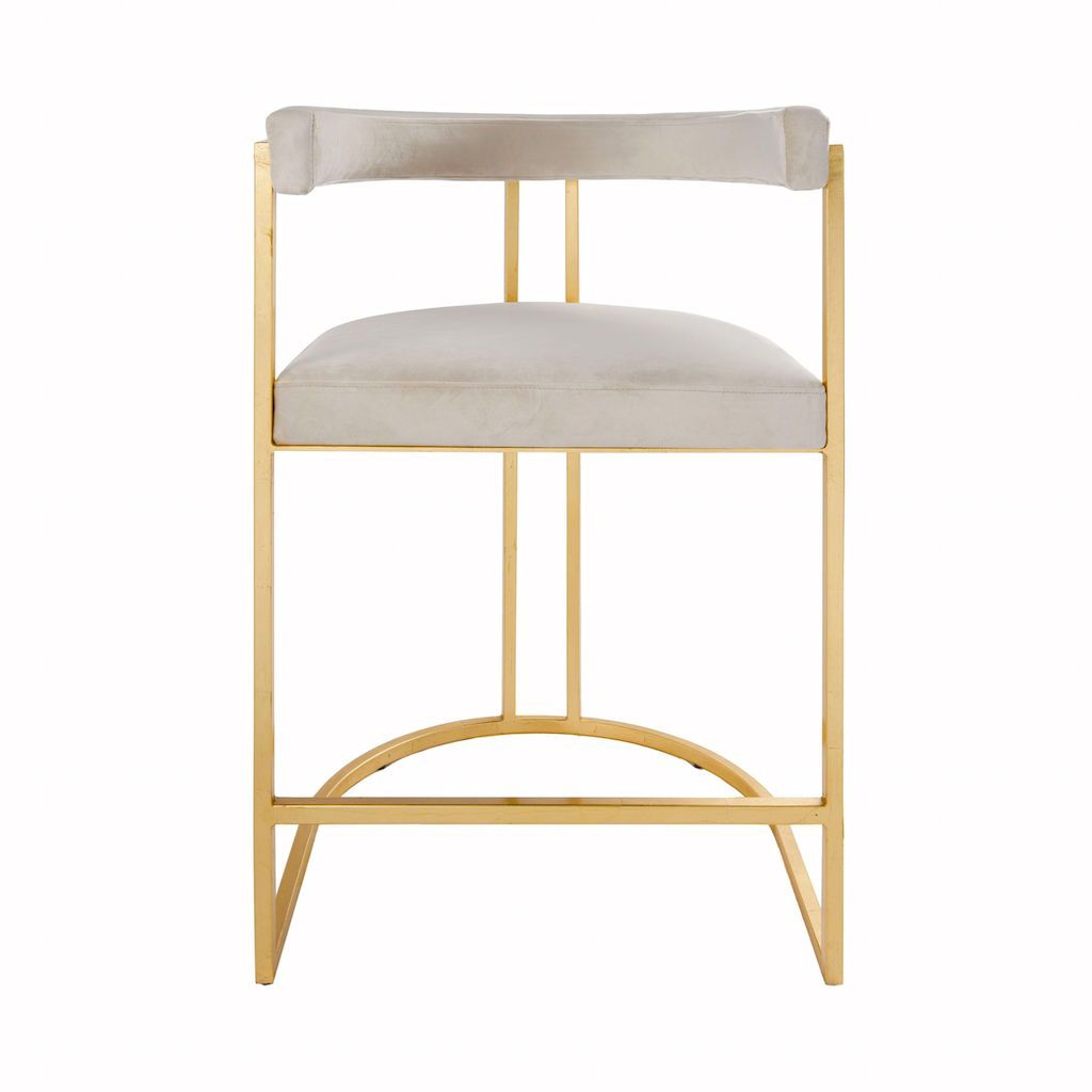 Cromwell Ivory Velvet & Gold Counter Stool by Worlds Away | Fig Linens