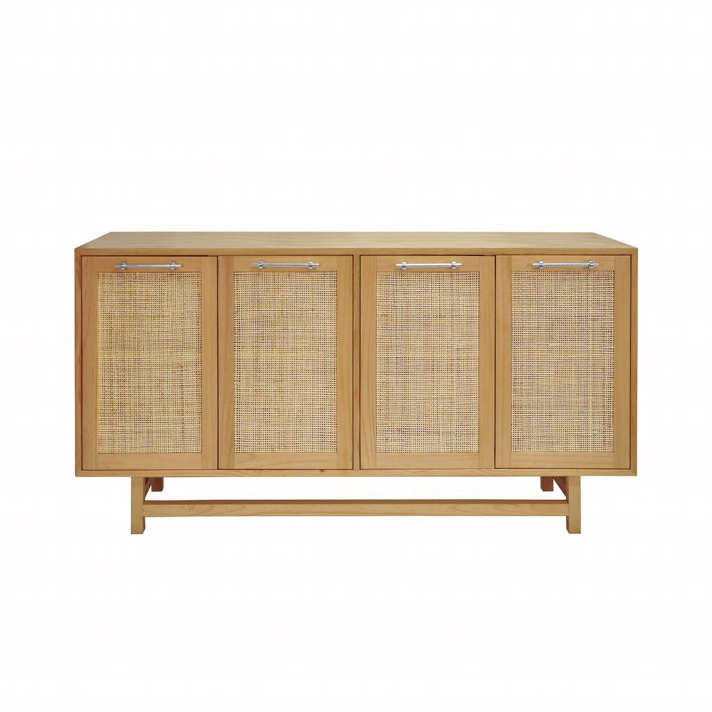 Worlds Away - Macon Pine Cabinet with Cane Doors & Nickel Hardware | Fig Linens