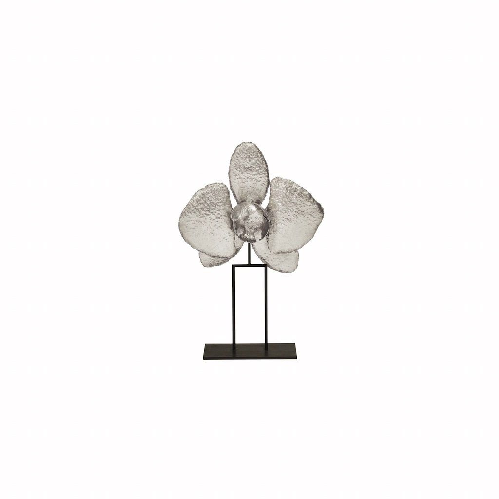 """12"""" Silver Leaf Orchid Sculpture by Worlds Away"""