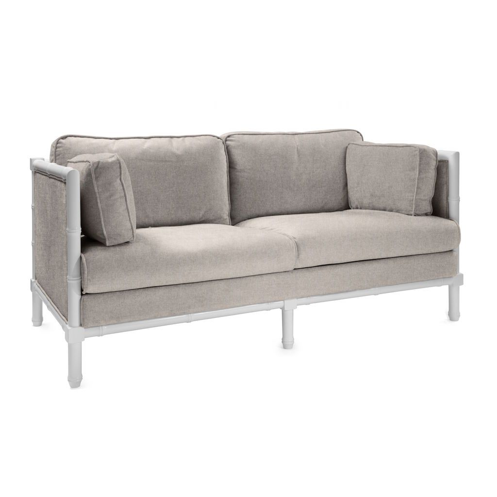 Ainsley Natural Linen & White Lacquer Bamboo Edge Sofa