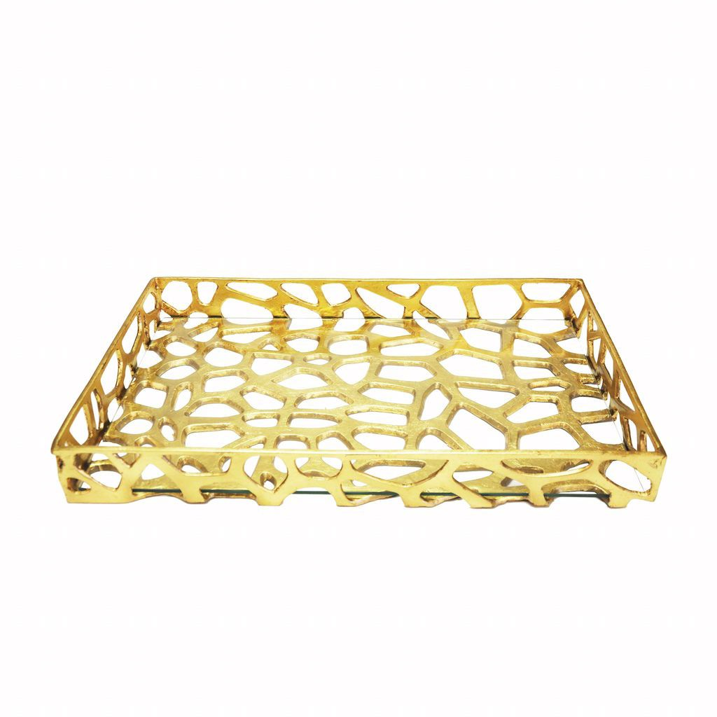 Fig Linens - Byron Gold Tray by Worlds Away