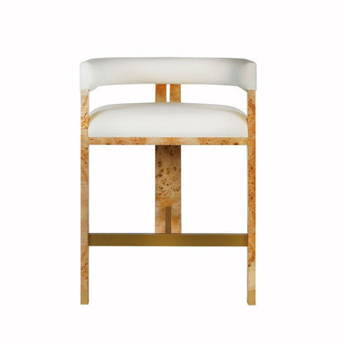 Fig Linens - Cruise Burl Wood Accent Counter Stool by Worlds Away