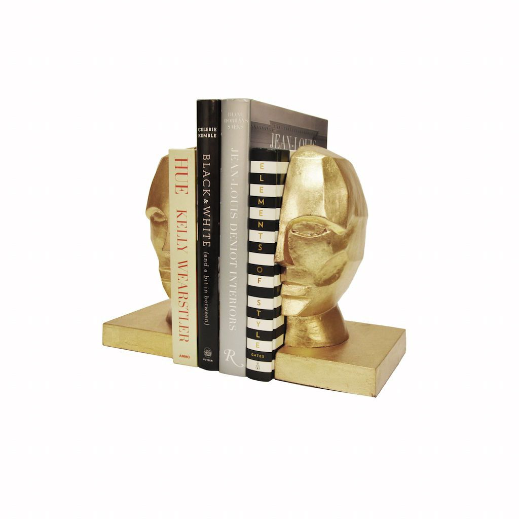 Gold Leaf Profile Bookends by Worlds Away | Fig Linens