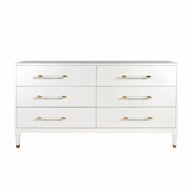 Maren White 6-Drawer Chest by Worlds Away | Fig Linens and Home