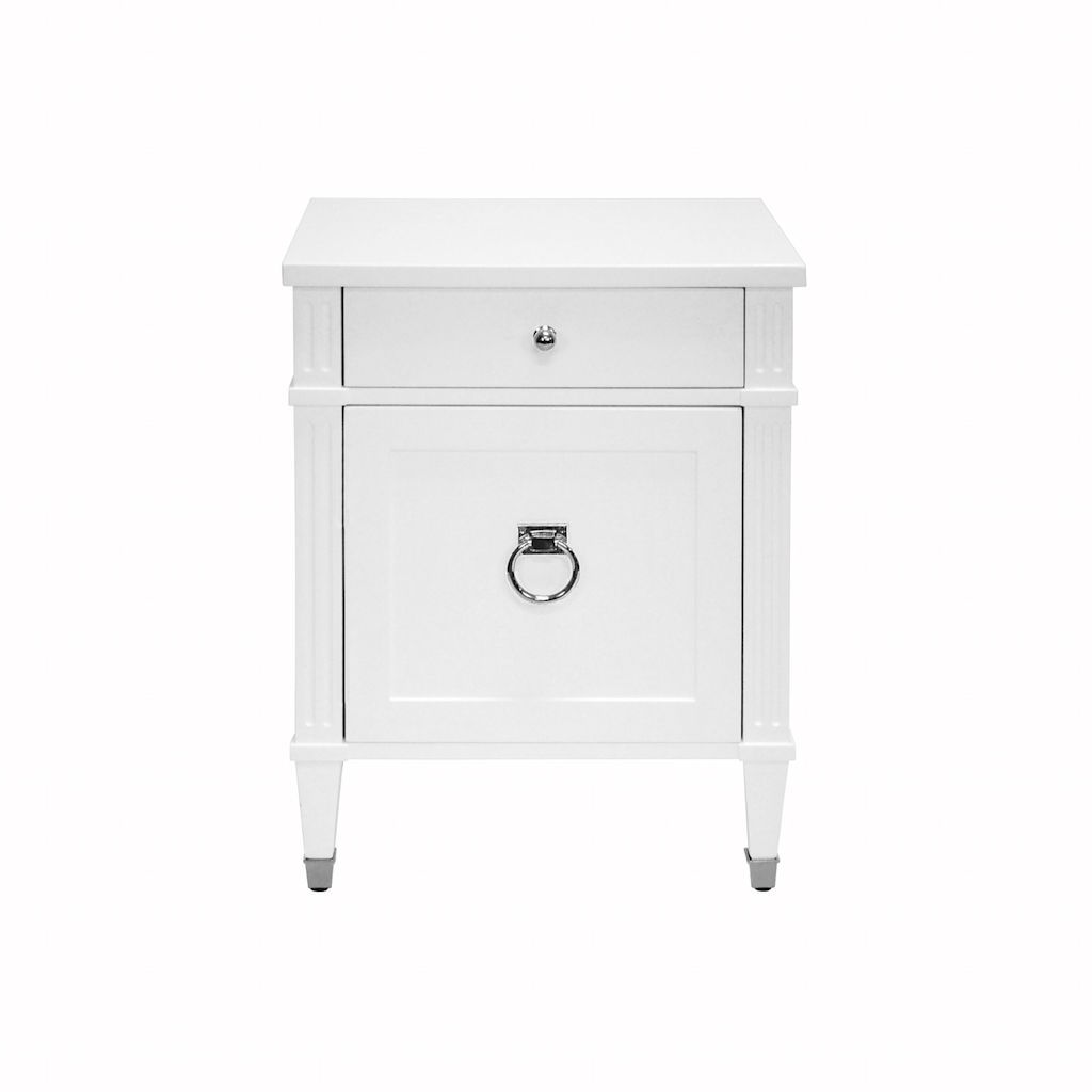 Lily White & Nickel Side Table by Worlds Away | Fig Linens