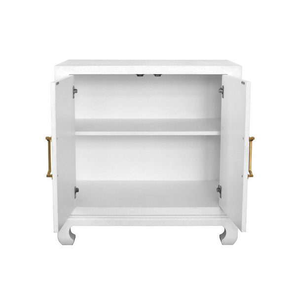 Fig Linens - Renwick White Chest by Worlds Away - Adjustable shelf
