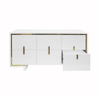 Fig Linens - Worlds Away Hold White and Gold Drawer Chest