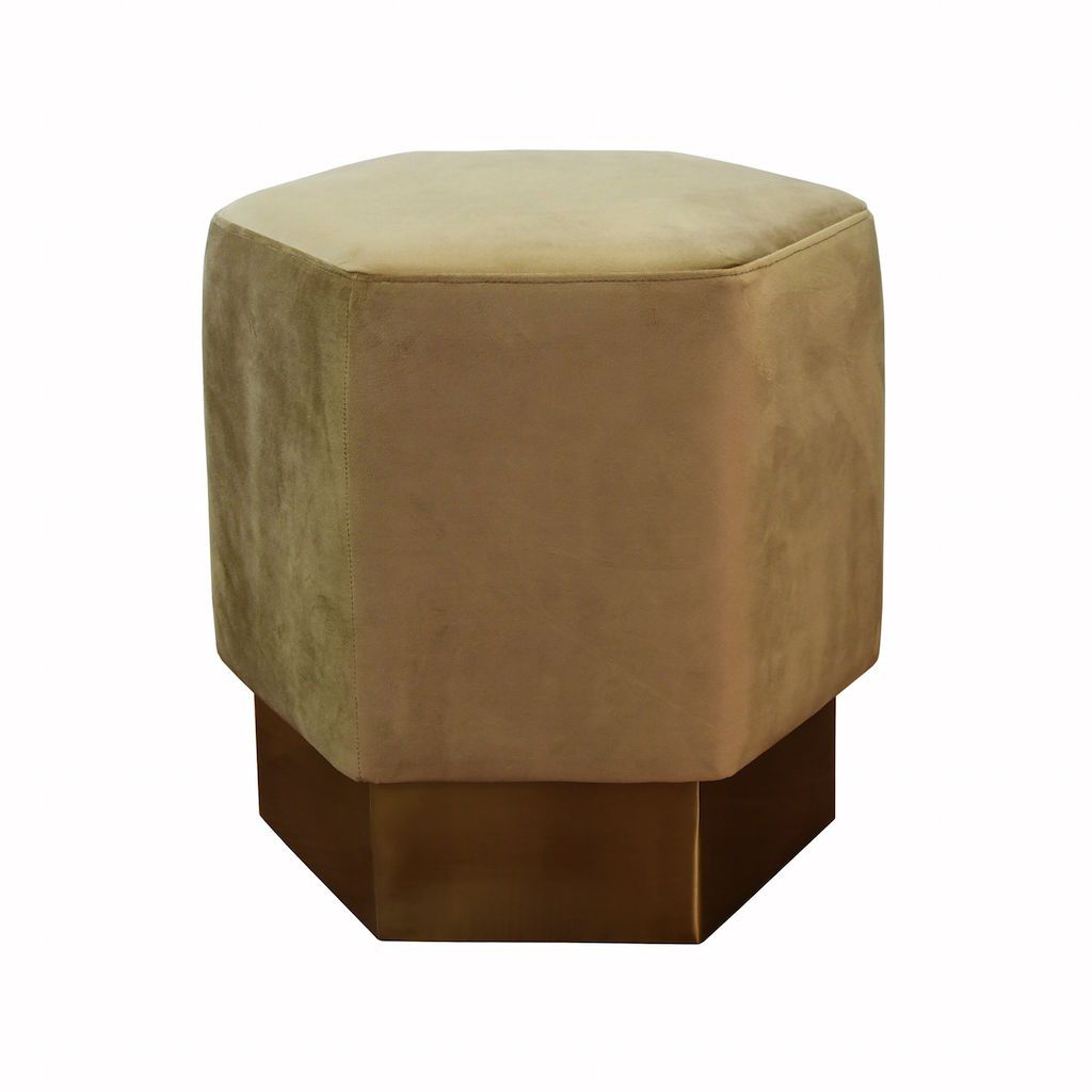 Asher Camel Velvet Hexagon Stool by Worlds Away