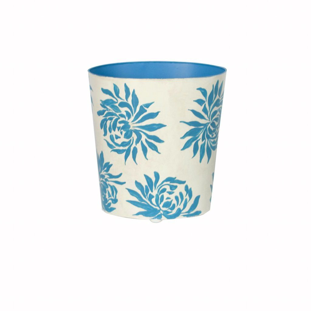 Worlds Away Dahlia Turquoise & Cream Wastebasket | Fig Linens