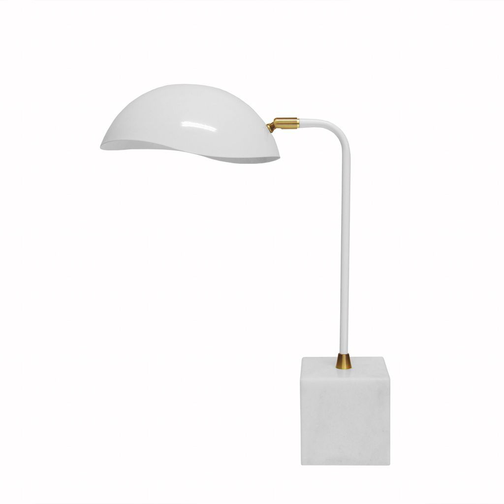 Rizzo White Desk Lamp with Marble Base | Fig Linens and Home