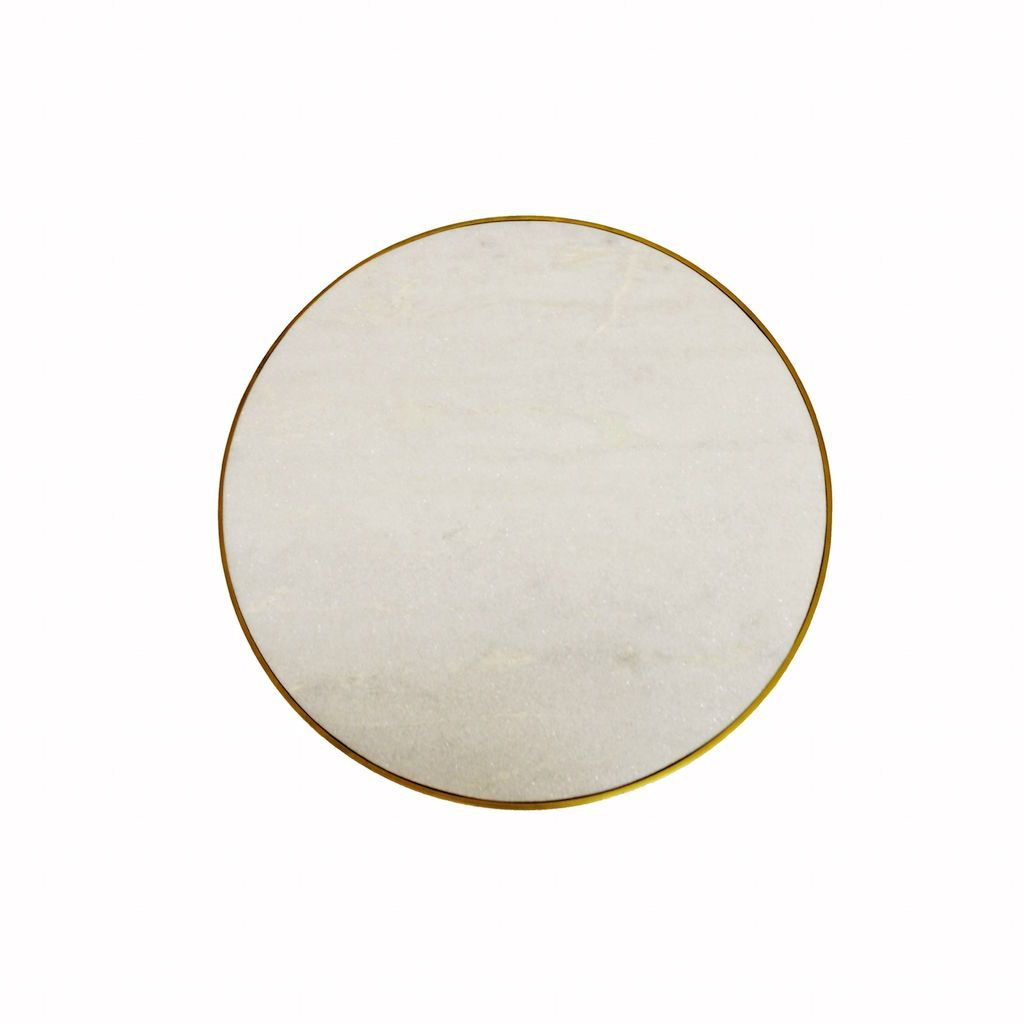 Worlds Away Woodrow Antique Brass & Marble Round Side Table | Fig Linens