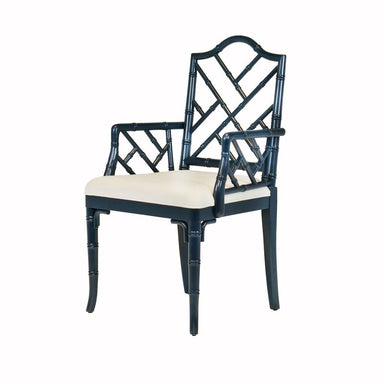 Bristol Navy Lacquer Arm Chair by Worlds Away | Fig Linens