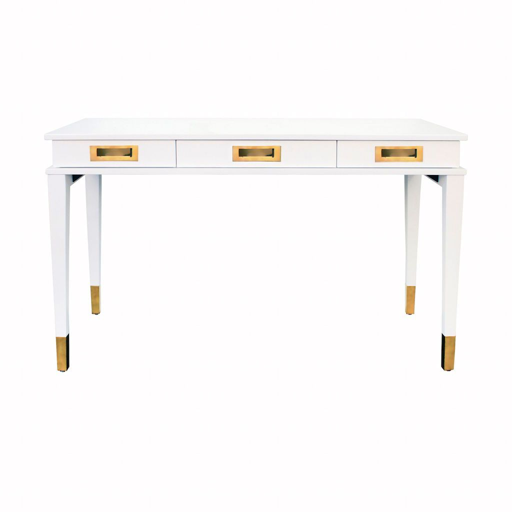 Worlds Away Plato White Lacquer & Brass 3 Drawer Desk | Fig Linens