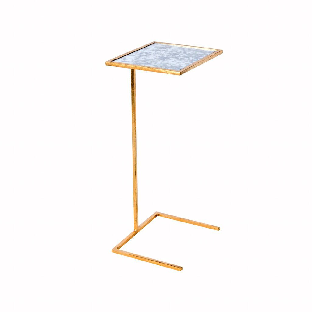 Gold Leaf & Antique Mirror Cigar Table by Worlds Away | Fig Linens