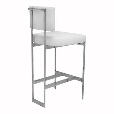 Fig Linens - Worlds Away - Jones White Vinyl & Nickel Bar Stool- Back