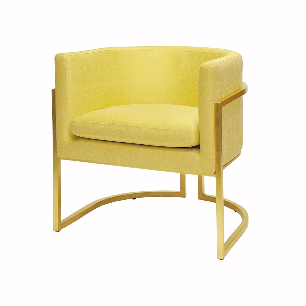 Jenna Citron & Gold Barrel Chair by Worlds Away | Fig Linens