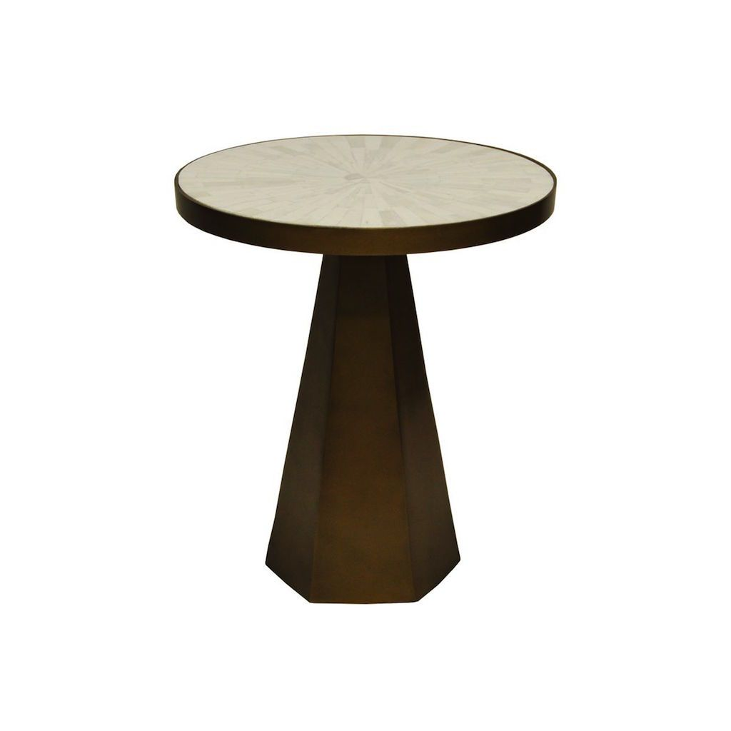 Worlds Away - Woodrow Antique Brass & Marble Side Table | Fig Linens and Home