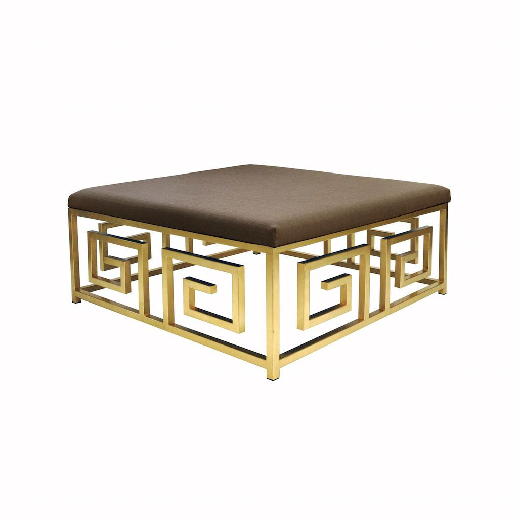 Worlds Away Eileen Gold Leaf & Natural Linen Ottoman | Fig Linens - Angle