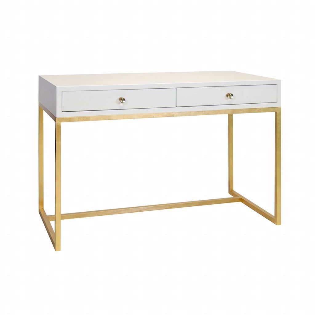Worlds Away William White Desk with Gold Base | Fig Linens