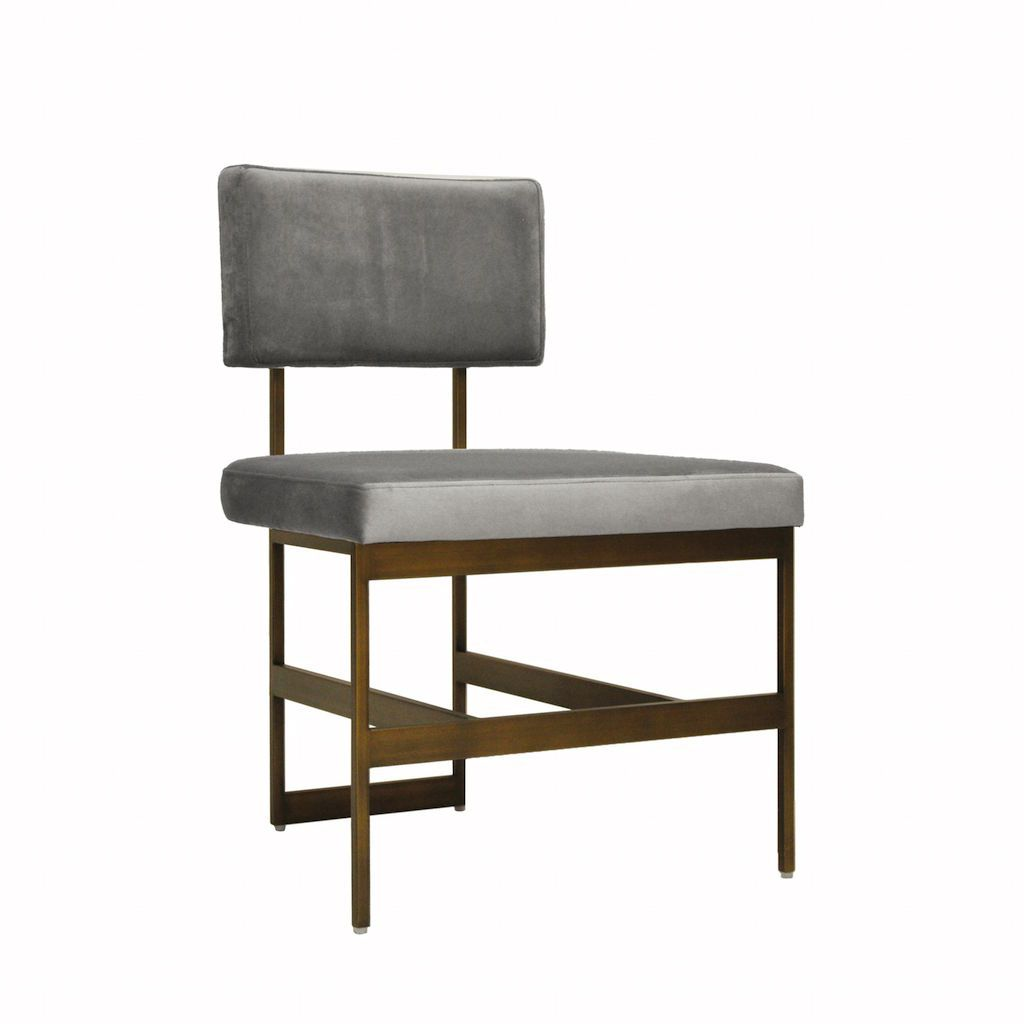Shaw Grey Velvet & Bronze Dining Chair by Worlds Away | Fig Linens