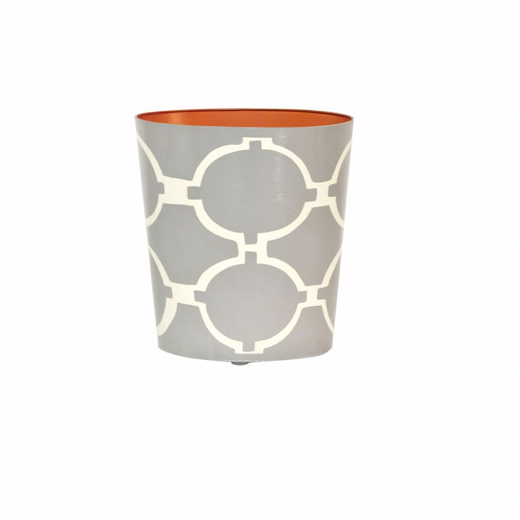 Arcadia Grey & Cream Oval Wastebasket by Worlds Away | Fig Linens