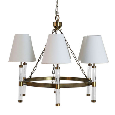 Winifred Antique Brass Six Light Chandelier | Fig Linens and Home