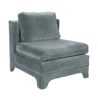 Fig Linens - Worlds Away - Ansonia Seafoam Velvet Slipper Chair - Angle