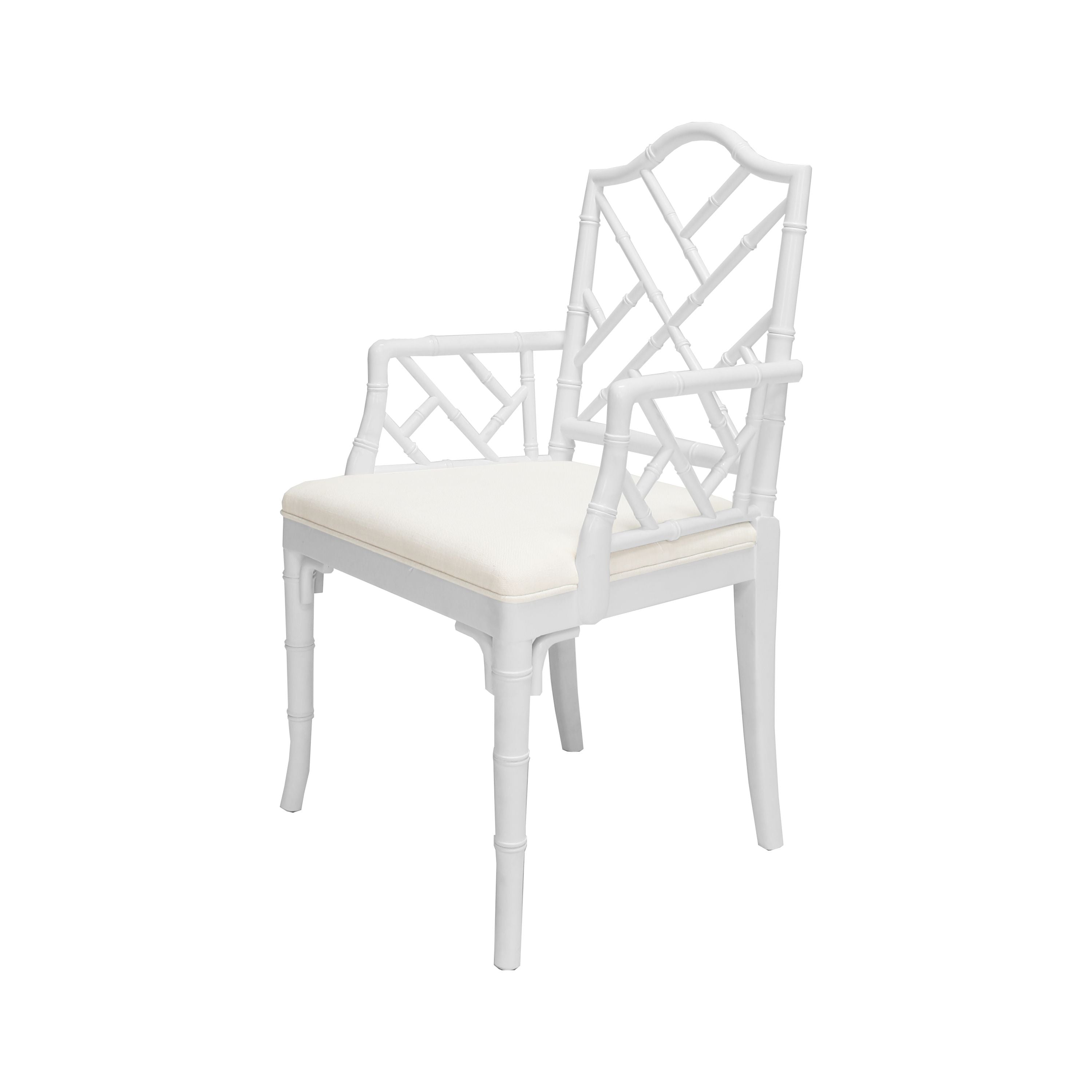 Bristol White Lacquer Arm Chair by Worlds Away
