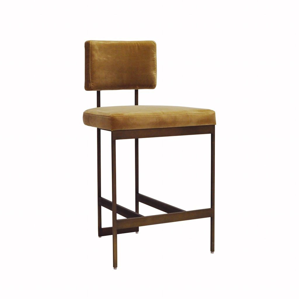 Worlds Away - Baylor Bronze & Camel Velvet Counter Stool | Fig Linens and Home