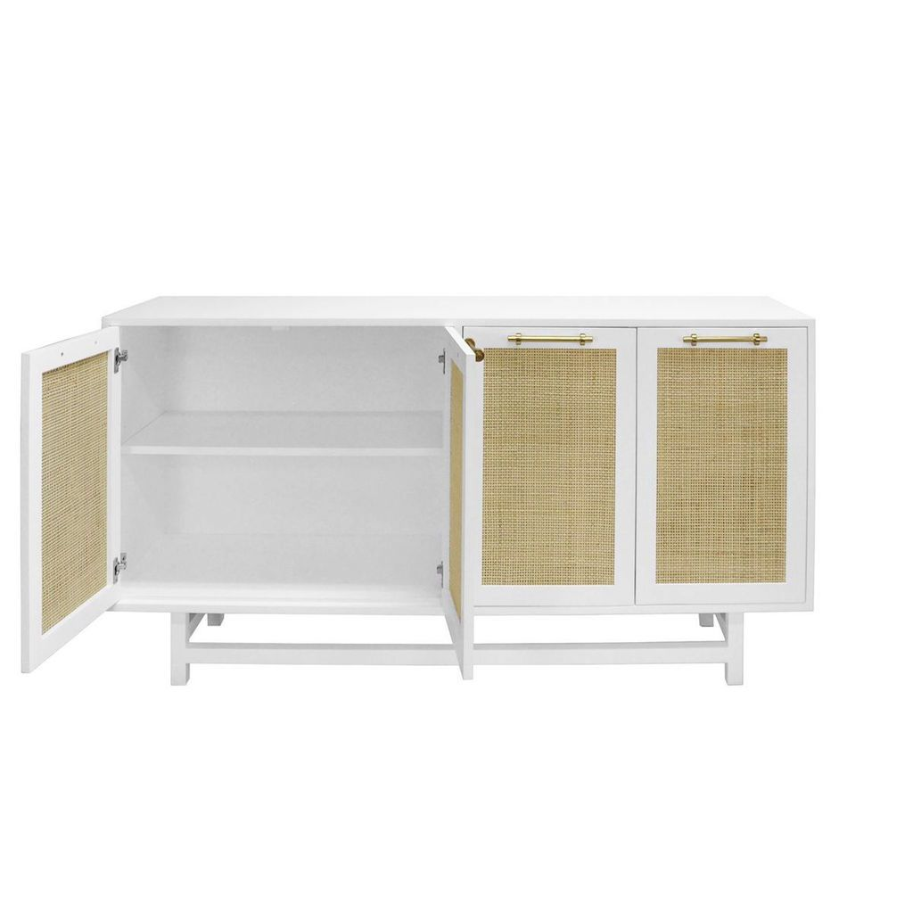 Fig Linens - Worlds Away - Macon White Cabinet with Cane Door Fronts - Interior