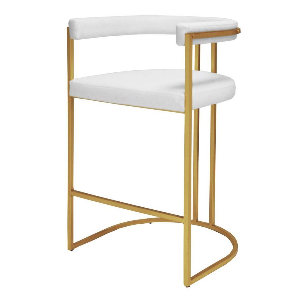Donovan White Vinyl & Gold Leaf Bar Stool by Worlds Away | Fig Linens