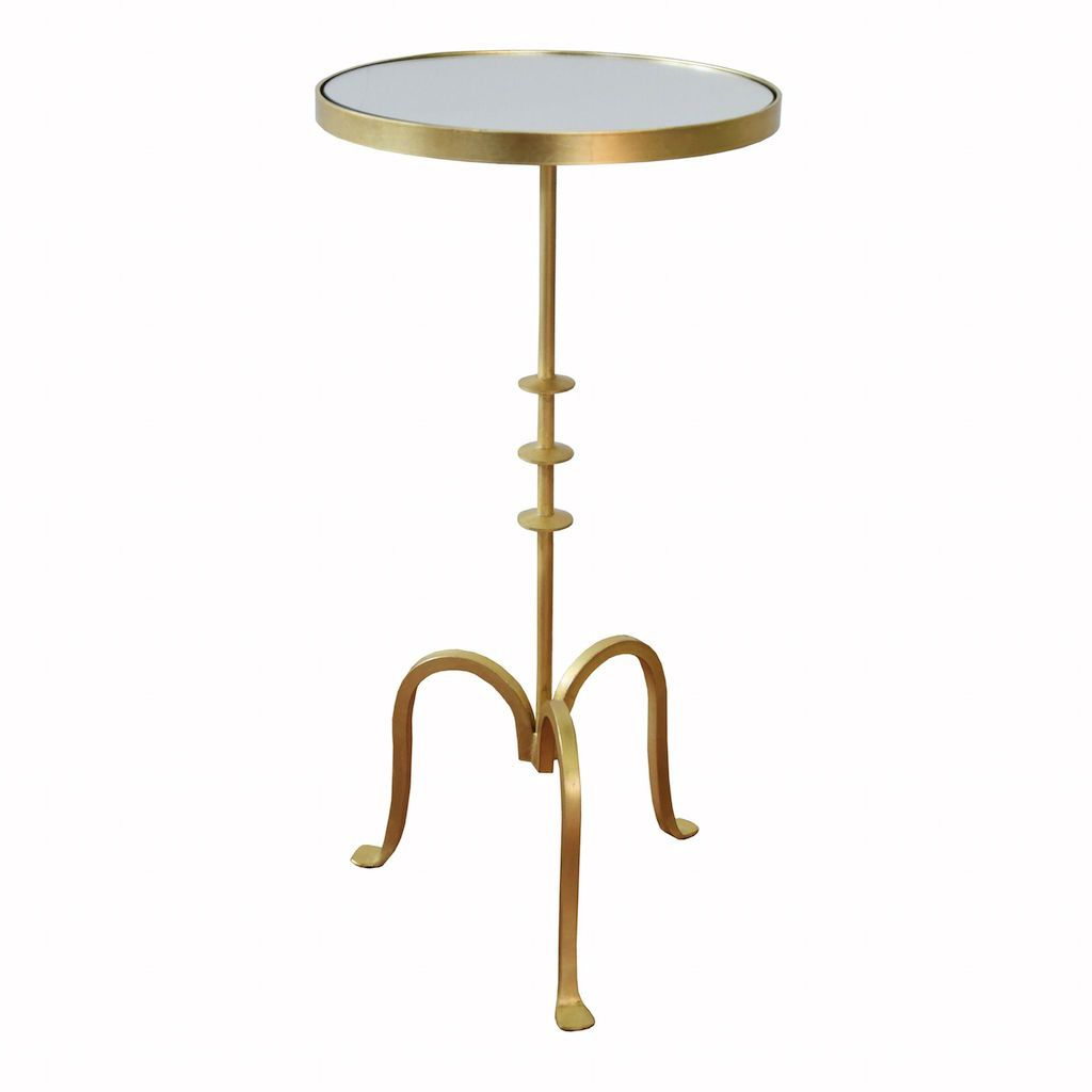 Bessie Gold Round Cigar Table with Mirror Top