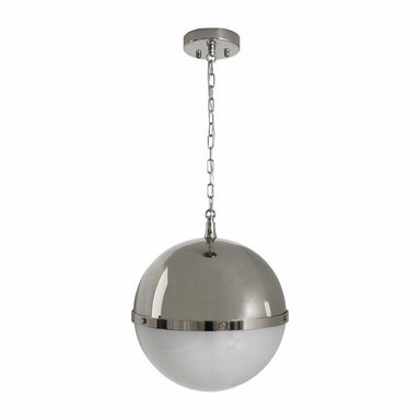 Fig Linens - Harpo Frosted Glass & Nickel Globe Pendant by Worlds Away