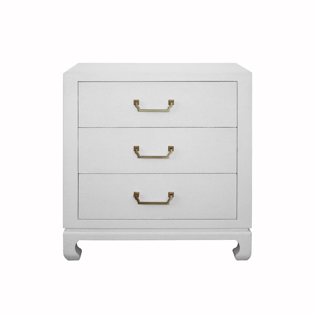 Worlds Away Camille White Grasscloth 3 Drawer Chest | Fig Linens