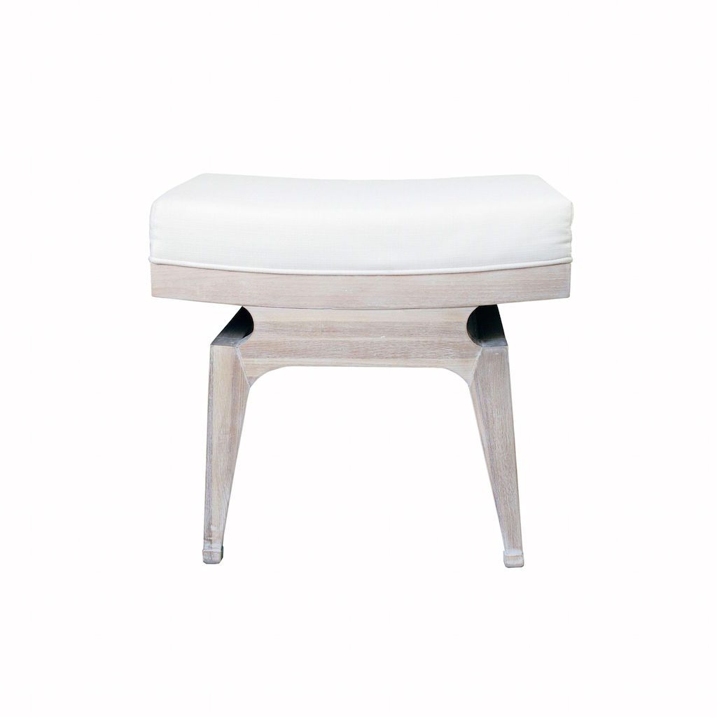 Fergie Cerused Oak & White Linen Stool by Worlds Away | Fig Linens