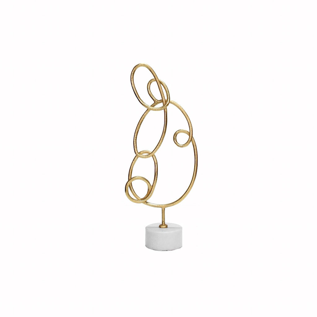 Anton Gold Doodle Sculpture with Marble Base