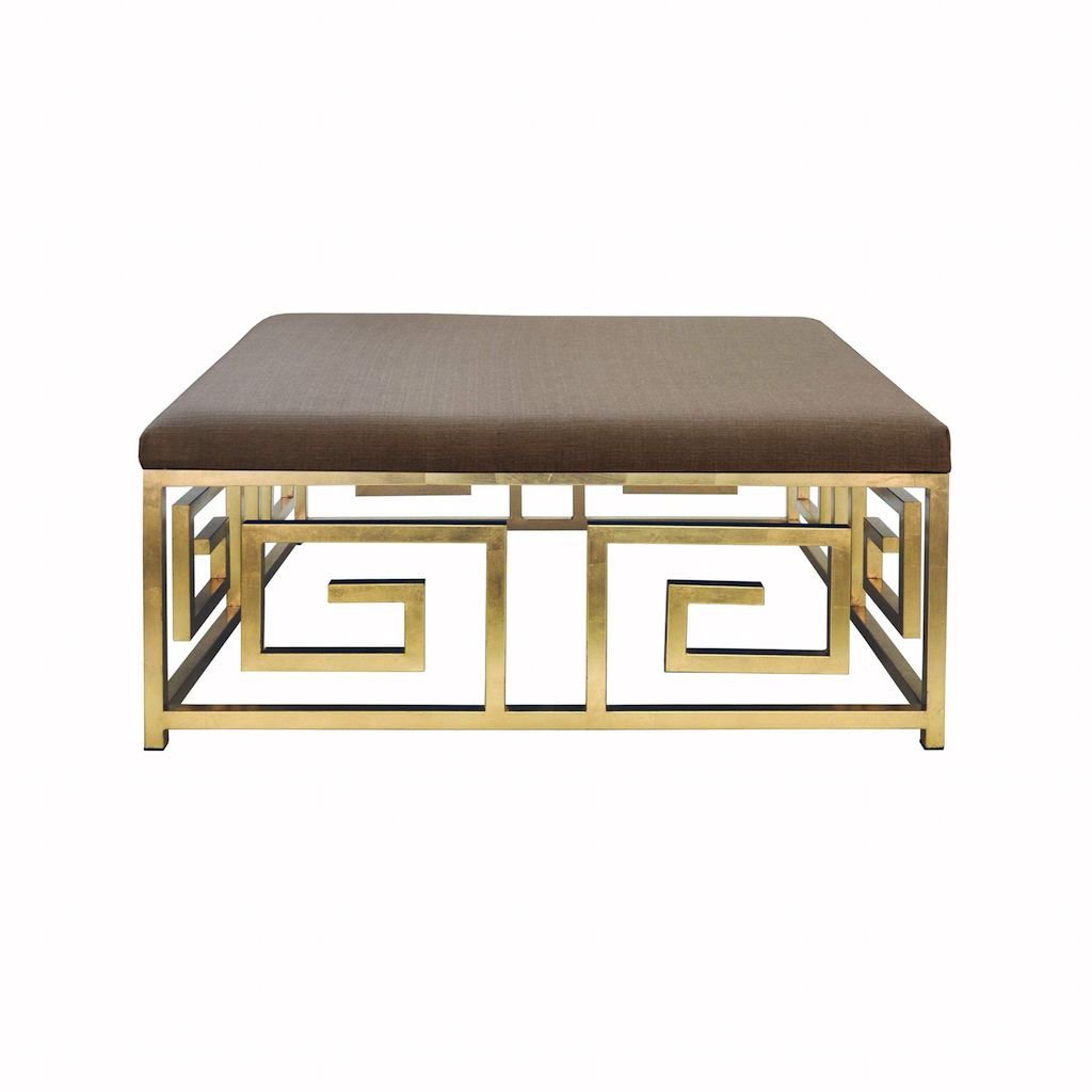 Worlds Away Eileen Gold Leaf & Natural Linen Ottoman | Fig Linens