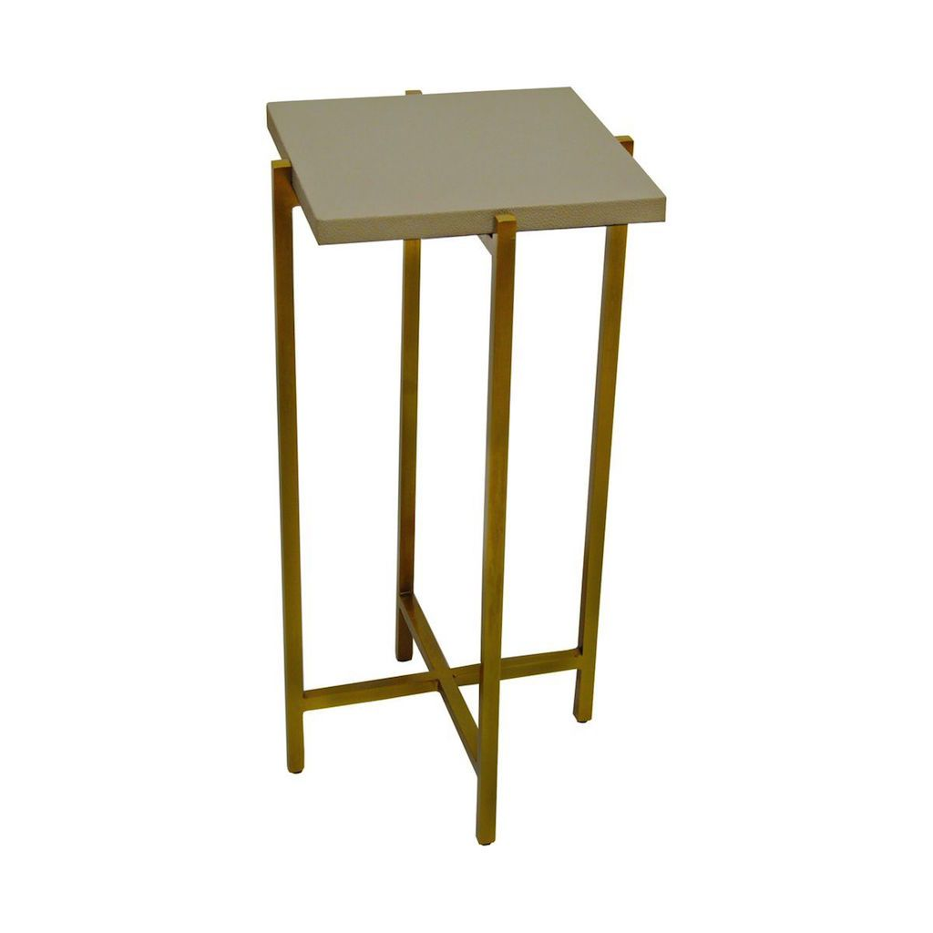 Worlds Away - Ollie Antique Brass & Dove Grey Shagreen Cigar Table | Fig Linens