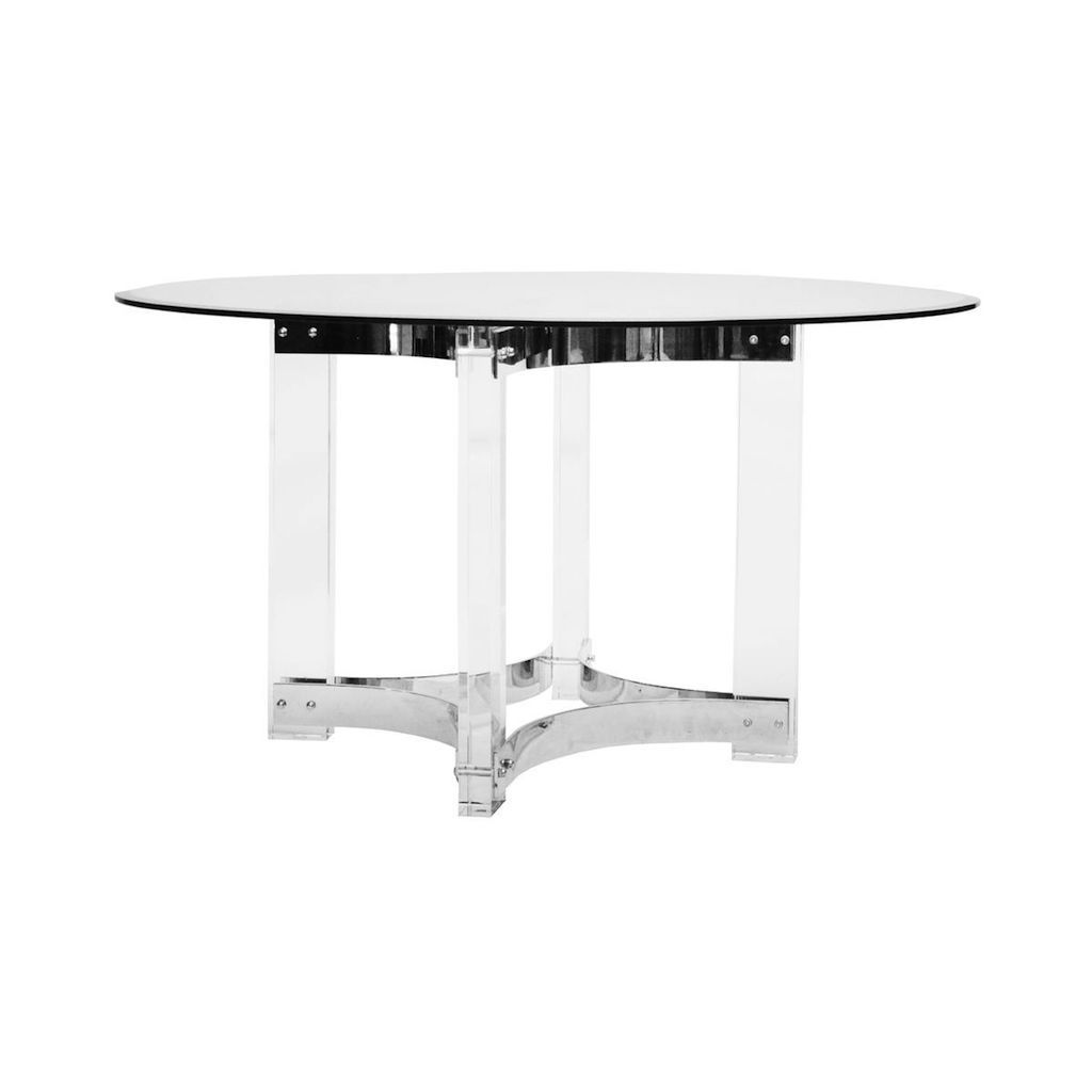 Hendrix Acrylic & Nickel Round Dining Table | Fig Linens