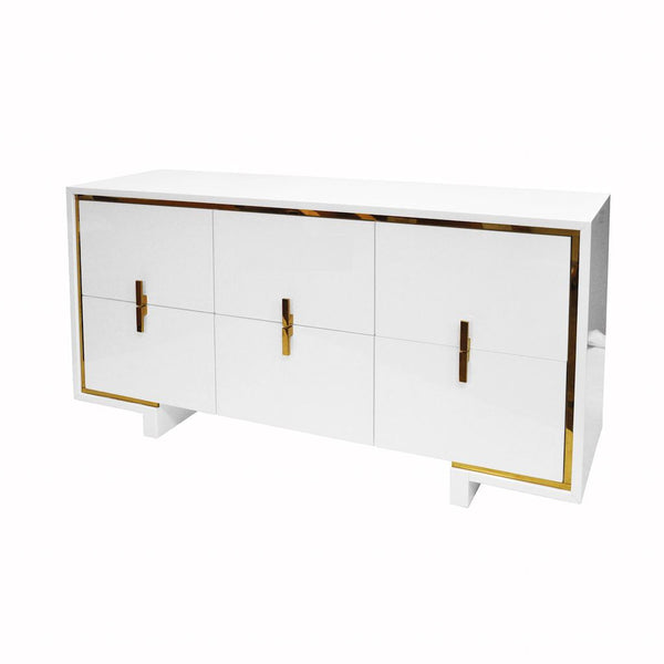 Worlds Away - Holden White Lacquer & Brass Drawer Chest | Fig Linens