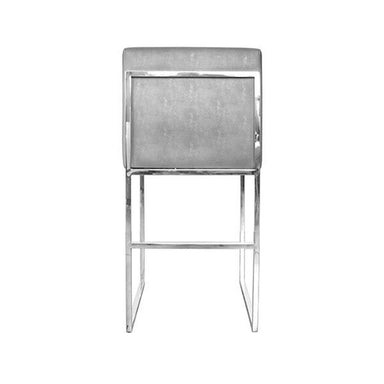 Fig Linens - Worlds Away - Kingston Grey Shagreen & Nickel Counter Stool - Back