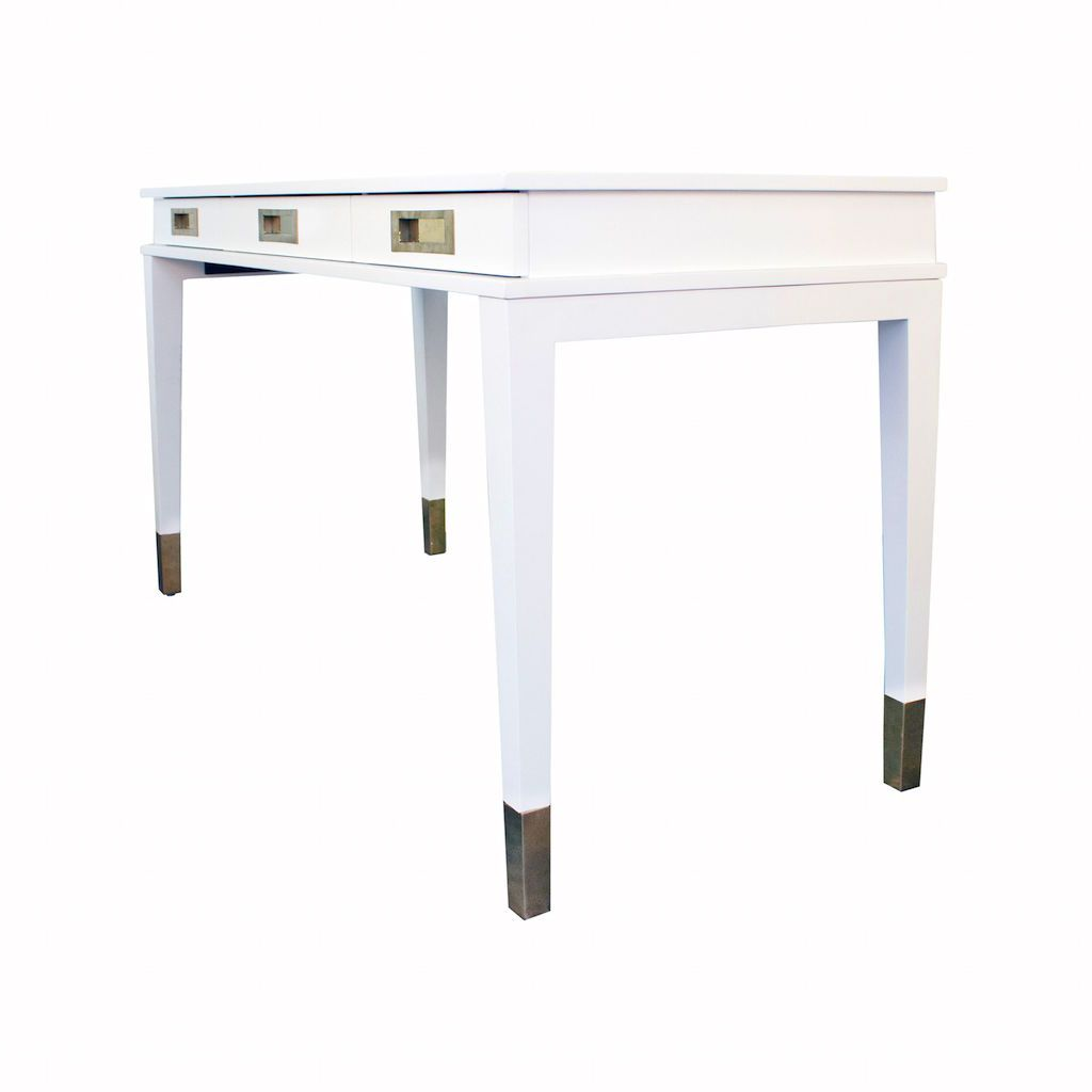 Fig Linens - Worlds Away Plato White Lacquer & Brass 3 Drawer Desk - Angle